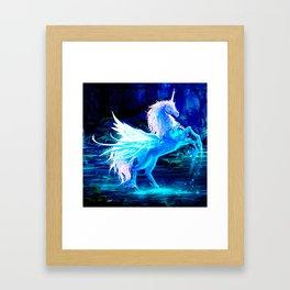 Unicorn Forest Stars Cristal Blue Framed Art Print