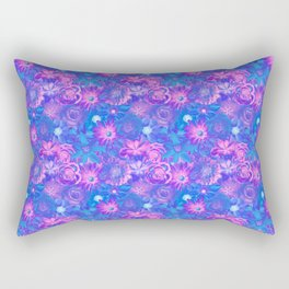 Dazzling Flowers - Red Passion Enchanted Flowers Rectangular Pillow