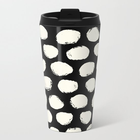 Trendy Cream Polka Dots on Black Metal Travel Mug