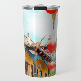 Travel photography Chinatown Los Angeles VI temple with lamps Travel Mug