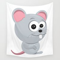 rat Wall Tapestries featuring Cartoon Rat by Emir Simsek