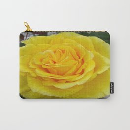 Head On View Of A Yellow Rose With Garden Background Carry-All Pouch