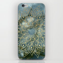 MANDALA ON BLUE MARBLE iPhone Skin