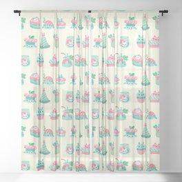Choco Mint Rabbit Sheer Curtain