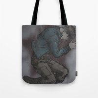 bucky barnes Tote Bags featuring Bucky in the snow by DeanDraws