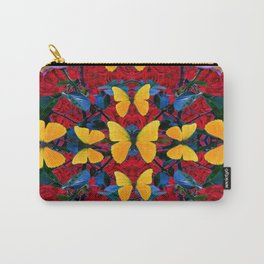 RED-WHITE ROSES & YELLOW BUTTERFLIES GARDEN Carry-All Pouch