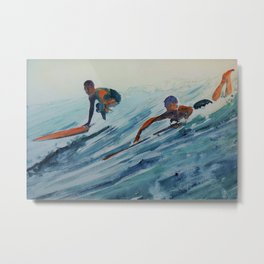 African American Surfers, Honolulu, Hawaii landscape painting by Fred Soldwedel Metal Print