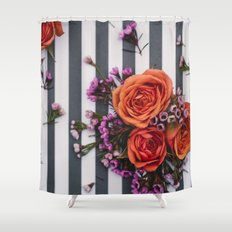 Botanical Stripes  Shower Curtain