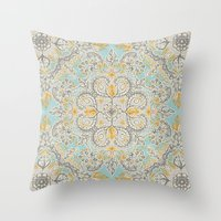 bedding Throw Pillows featuring Gypsy Floral in Soft Neutrals, Grey & Yellow on Sage by micklyn