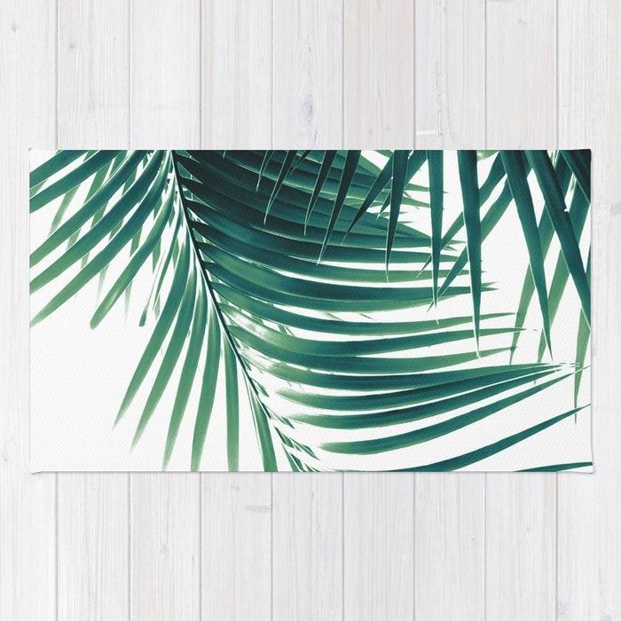 Palm Leaves Green Vibes #4 #tropical #decor #art #society6 Rug