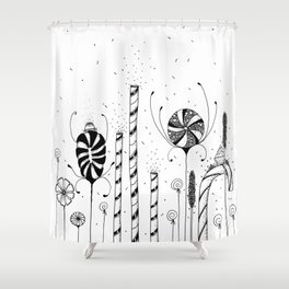 Garden of Candy Flowers Ink Illustration Shower Curtain