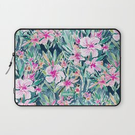 LUSH OLEANDER Tropical Watercolor Floral Laptop Sleeve