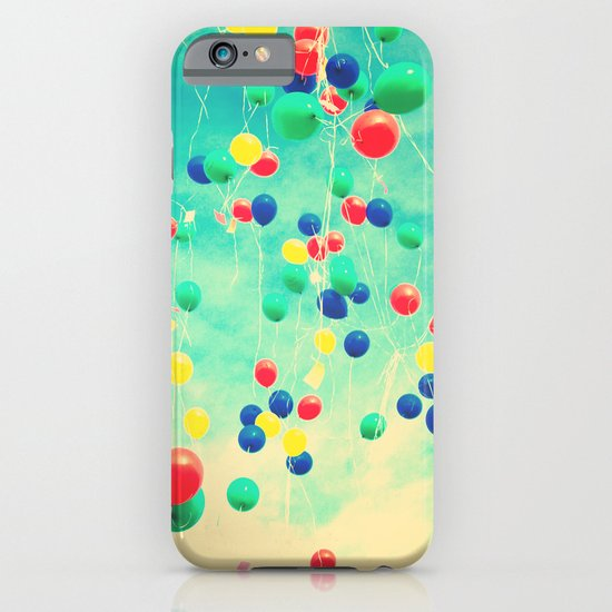 Let your wishes fly (Colour balloons in vintage - retro turquoise sky) iPhone & iPod Case