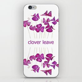 purple clover leaves iPhone Skin