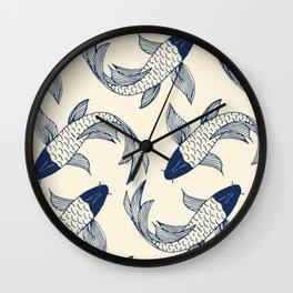 koi carp, fish textile pattern, Wall Clock