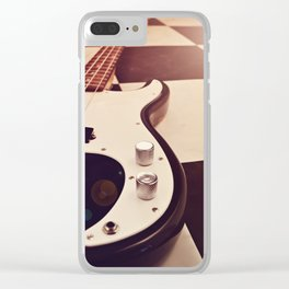 Black and white Bass guitar. Clear iPhone Case