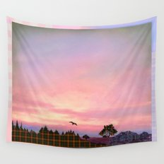 Rose Quartz and Serenity Landscape Wall Tapestry