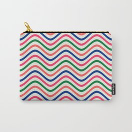 The Wave:  Kelly Green, Coral, Blue, Fuchsia Carry-All Pouch