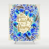 waldo Shower Curtains featuring The Earth Laughs in Flowers – Gold & Blue by Cat Coquillette