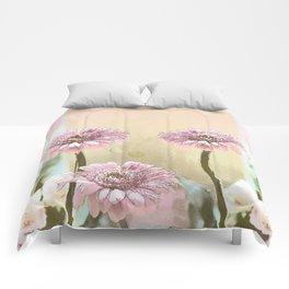 Pastel Spring with Pink Gerbera Daisies Comforters