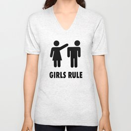 Girls Rule Unisex V-Neck