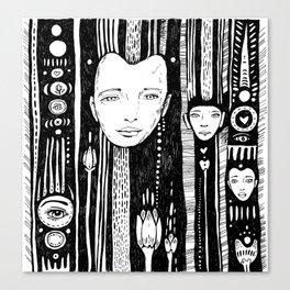 doodle face, black pen Canvas Print