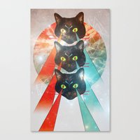 hippy Canvas Prints featuring Hippy Cats by Lauren Miller