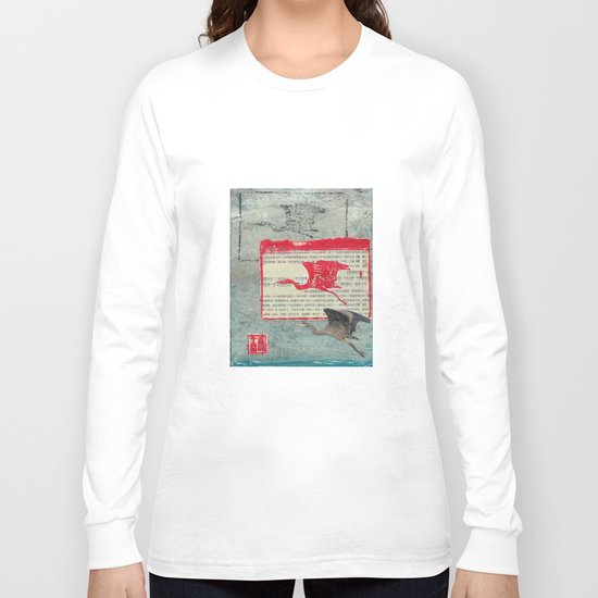 Blue Heron Collage Long Sleeve T-shirt