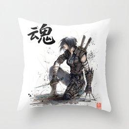 Calligraphy SOUL Ghost in the Shell Motoko Ninja Throw Pillow