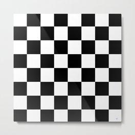 Checker - Black & White Metal Print