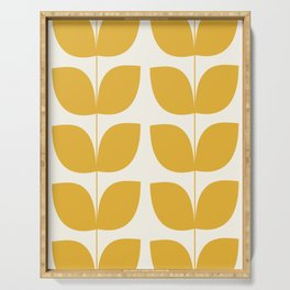 Mid Century Modern Leaves Yellow #society6 #buyart  Serving Tray