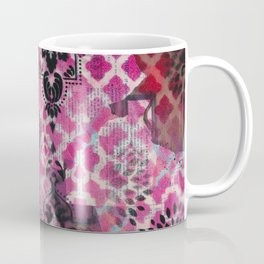 Mixed Media - Black, Red & Pink Coffee Mug