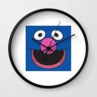 sesame street Wall Clocks featuring Sesame Street Grover by Jconner
