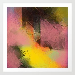 Broken Glass in Pink and Gold Art Print