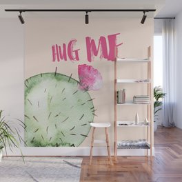 Hug me- Cactus and typography and watercolor Wall Mural