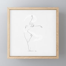 'UNFURL', Dancer Line Drawing Framed Mini Art Print