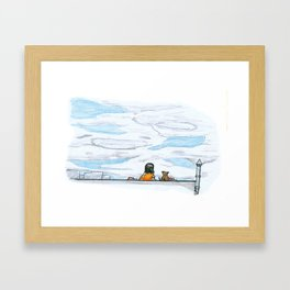 The little girl in orange. Watching the clouds pass over the sky Framed Art Print