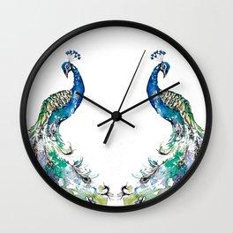 Double Peacocks Wall Clock