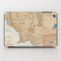 middle earth iPad Cases featuring Map of Middle Earth by Kaz Palladino