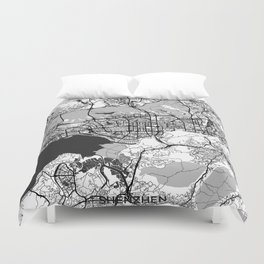 Shenzhen Map Gray Duvet Cover