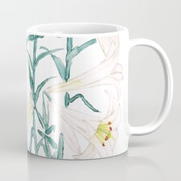 white lily branch watercolor Coffee Mug