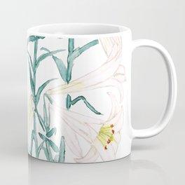 white lily branch watercolor Coffee Mug