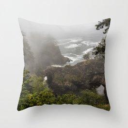 Fog Over Natural Bridges Throw Pillow