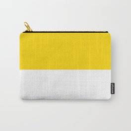 White and Gold Yellow Horizontal Halves Carry-All Pouch