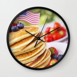 Stack of pancakes with fresh fruit Wall Clock