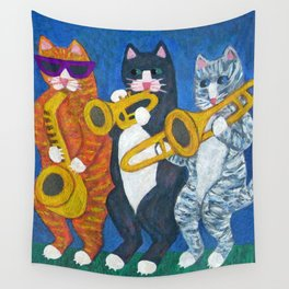 Salsa Cats Brass Section Wall Tapestry