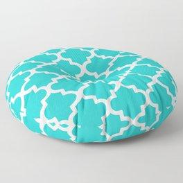 Quatrefoil Pattern In Sky Blue Decorative Moroccan Pattern Floor Pillow