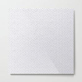 Persimmon Hitomezashi Sashiko - Blue on White Metal Print