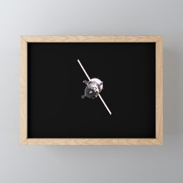 998. Backdropped by the blackness of space and Earth's horizon, the Soyuz TMA-6 spacecraft approaches the International Space Station Framed Mini Art Print