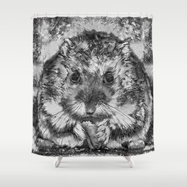 AnimalArtBW_Hamster_20170901_by_JAMColorsSpecial Shower Curtain